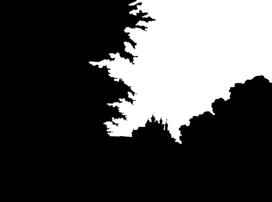 Die schwarze Schablone lässt nur den Himmel des Hintersetzers frei.