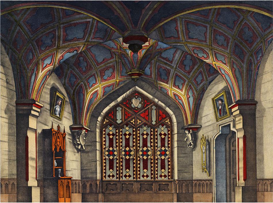 Gotisches Zimmer. Papiertheater-Hintergrund von Scholz.