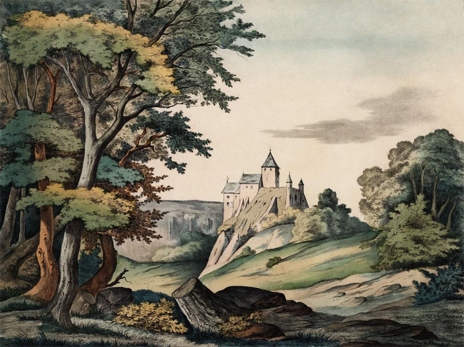 Wald mit Burg von Scholz