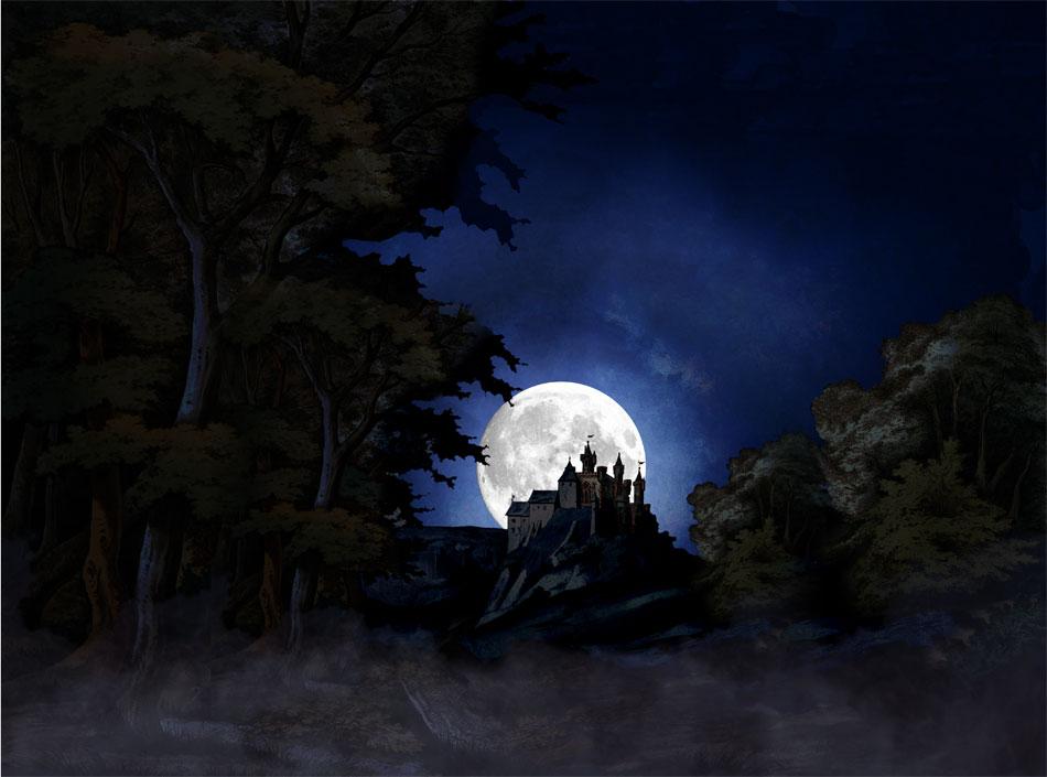 Der überarbeitete Wald mit Burg